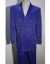 ID#AI28955 Bold Gangster 1920's Clothing 20s 40s Fashion  Striped ~ Pinstripe Double Breasted Royal ~ White By Alberto Nardoni Brand 1930s 50s Outfit Costume Suit