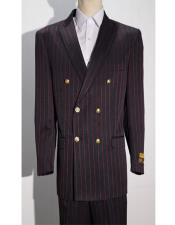 ID#AI28979 Mens Black/Red Pinstripe Six Button Double Breasted Blazer Sport Coat