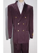Burgundy/White Pinstripe Six Button