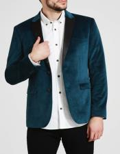 Button Mens Teal Blue