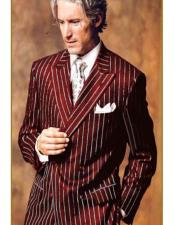 ID#AI28989 Mens Double Breasted Chalk Pinstripe Striped Gangster Burgundy and White Stripe Suit