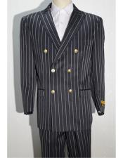 Pinstripe Black ~ White Blazer men's Double Breasted Suits Jacket