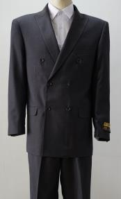 ID#KA29002 Mens Charcoal Six Button Peak Lapel Double Breasted Suits