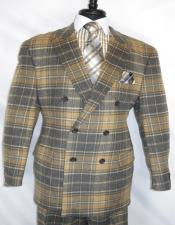 ID#KA29014 Mens Check Suit Jacket Brown ~ Double Breasted Suit