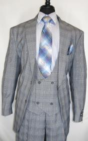 ID#KA29018 Mens Grey ~ Plaid Design Single Breasted Suit Jacket