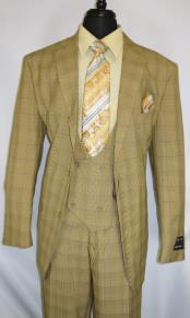 ID#KA29019 Mens Plaid Design Single Breasted ~ Notch Lapel Tan Suit Jacket