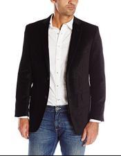 ID#KA29023 Mens Black Two Flap Front Pockets Two Button Paisley Velvet Mens Blazer