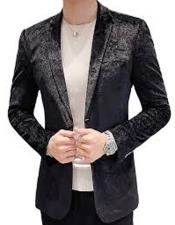 ID#KA29026 Mens Black One Chest Pocket Two Button Paisley Velvet Mens Blazer