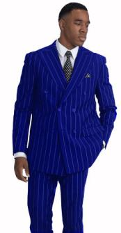 ID#KA29027 Mens White PinStripe Pattern ~ Dark Royal Double Breasted Suit