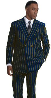 ID#KA29030 Mens Double Breasted Six Button Navy with Gold Pinstripe Pattern Suit