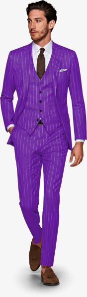 ID#KA29038 Mens Purple and White Pinstripe 1920s 1940s Gatsby Vintage Suit For Sale