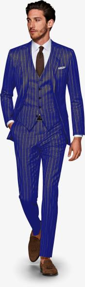 ID#KA29040 Mens 1920s 1940s Navy blue and Gold Pinstripe Gatsby Vintage Suit For Sale