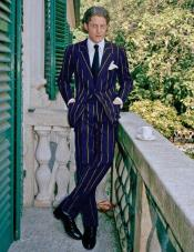 ID#AI29081 1920s 1940s Mens Gatsby Mobster Vintage Navy Blue and Gold Pinstripe Suit For Sale