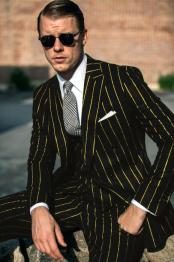 Black and Gold Pinstripe