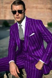 Purple and White Pinstripe
