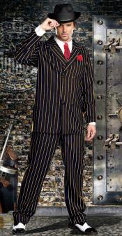 ID#KA29116 Bold Gangster Double Breasted Navy Blue with Gold Pinstripe 1930s 50s Outfit Costume Suit