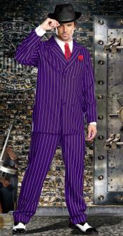 ID#KA29118 Double Breasted Purple and White Stripe Bold Gangster 1930s 50s Outfit Costume Suit