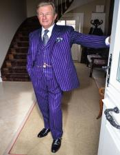 ID#KA29121 1920s 1940s Mens Gatsby Mobster Vintage Suit For Sale Dark Purple and White Pinstripe