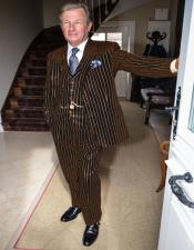 ID#KA29123 1920s 1940s Mens Gatsby Black and Gold Pinstripe Mobster Vintage Suit For Sale