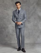 ID#KA29135 Double Breasted Slim Fit Wool Suit 4 Buttons Style By 2020 New Formal Style!