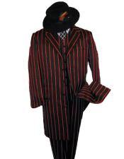 ID#KA29154 SHIMMERY GANGSTER Black And Bold Pronounce Black ~ Red Pinstripe Fashion Long Zoot Suit - Pimp Suit - Zuit Suit Pre order For September/1/2020
