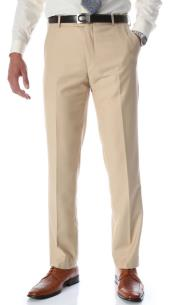 Tan Slim Fit Flat-Front