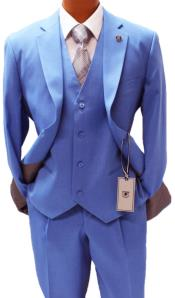 Adams Blue Vested Pleated