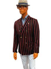 ID#KA29185 Mens Double Breasted With Brass Buttons Bold Stripe Blazer Sport Coat