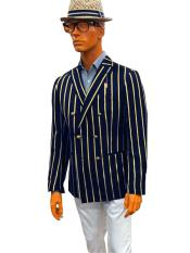 ID#KA29186 Mens Bold Stripe Blazer Double Breasted With Brass Buttons Sport Coat