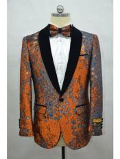 ID#KA29237 Orange Tuxedo Dinner Jacket Fashion Sport Coat Shiny Blazer Two Toned Paisley Floral Blazer + Matching Bowtie Included
