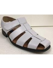 ID#KA29252 Mens Dress Sandals Solid Formal/Casual White Closed Toe