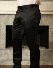 ID#KA29266 Black Shiny Sateen Slim Fit Pants Polyster Fabric Slacks Flat Front Mens Dress Pants