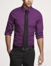 ID#AI29324 Groomsmen Patterned Purple Shirt Black Tie