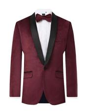 ID#AI29328 Mens Burgundy Velvet 2 Piece Regular Fit Contrast Shawl Lapel Tuxedo