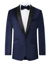 ID#AI29330 Mens Navy Velvet Contrast 2 Piece Regular Fit Shawl Lapel Tuxedo