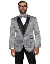 ID#AI29337 Silver Fashion Prom / Wedding / Stage Plus Bowtie Also Available in Big and Tall Blazer