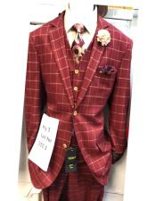 ID#KA29383 Mens Single Breasted Shawl Lapel Two Flap Front Pockets Red Suit