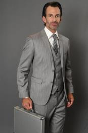 ID#KA29388 Sharkskin Vested 3-Piece Skinny Tapered Slim Fit Grey Suit