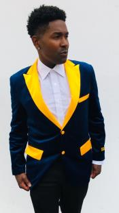 ID#KA29390 Navy Blue and Goldish Yellowish Lapel Velvet Jacket Sport Coat Mens Blazer With Matching Bowtie