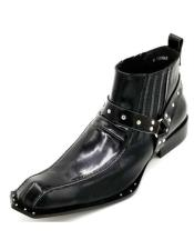 ID#KA29514 Mens Black Harness Strap Studded Zota Unique Ankle Cheap Priced Mens Dress Boot With jeans or Suit Best Fashion Dressy Leather Boot!Cheap Priced Mens Dress Boot With jeans or Suit Best Fashion Dressy Leather Boot!