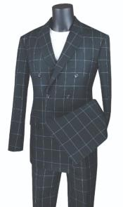 ID#KA29519 Plaid ~ Window Pane Double Breasted Suit Black