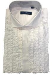 men's Ruffle Regular Fit Shirt In White Tuxedo