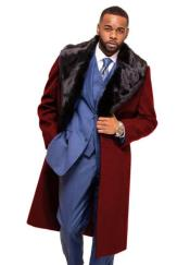 ID#KA29540 Alberto Nardoni Burgundy Overcoat ~ Topcoat With Fur Collar In Cashmere And Wool Fabric