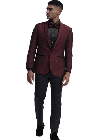 ID#KA29560 Slim Fit Tuxedo 2020 Dinner Jacket Paisley ~ Floral Pattern Fashion Blazer Perfect for Prom & Wedding & Stage Burgundy