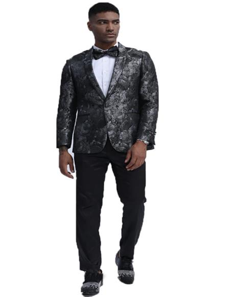 ID#KA29569 Fashion Blazer Perfect for Prom & Wedding & Stage Black & Silver Dinner Jacket Paisley ~ Floral Pattern Slim Fit Tuxedo