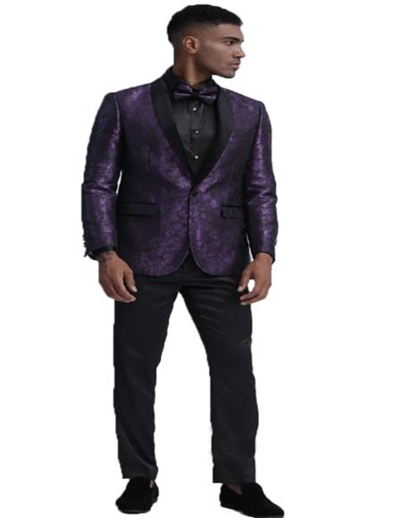 ID#KA29574 Slim Fit Tuxedo 2020 Dinner Jacket Paisley ~ Floral Pattern Fashion Blazer Perfect for Prom & Wedding & Stage Purple