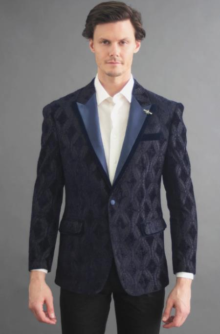 ID#KA29579 Mens Designer Fashion Dress Casual Blazer On Sale Cheap Priced Navy Blazer