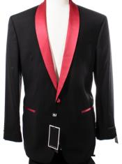 Black and Red Lapel Dinner Jacket Sport Coat