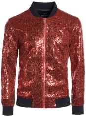 Red Sequin Blazer Bomber
