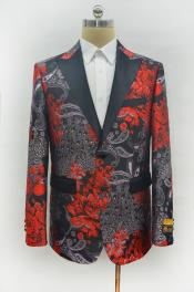 ID#KA29631 Mens Red Two Button Peak Lapel Two Flap Front Pockets Prom Blazer